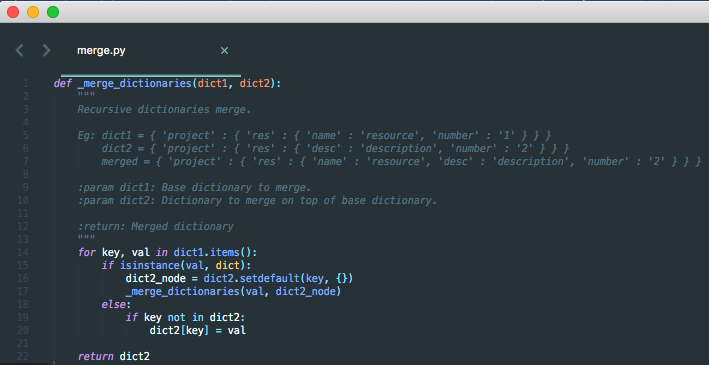 Python merge dictionaries
